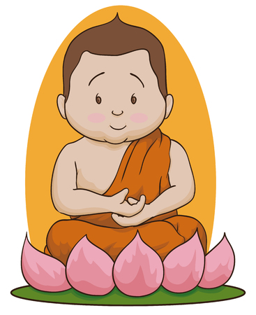 Buddha in meditative position sit in a lotus flower in white background. Illustration