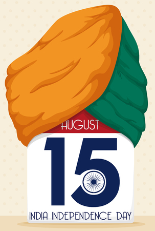 looseleaf: Loose-leaf calendar with reminder date of India Independence Day and a turban in the top of calendar in saffron and green colors.