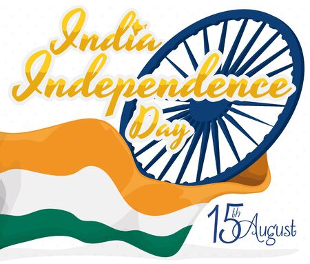 Poster in white background with Indias flag waving around and Ashoka Wheel (justice symbol) commemorating Independence Day in August 15.
