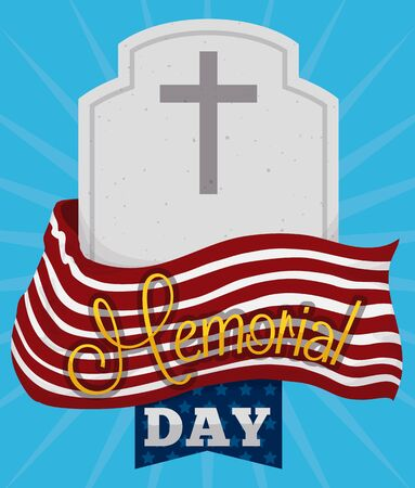 Commemorative poster for Memorial Day with tombstone and flag to remember fallen heroes.