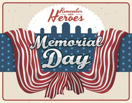 commemoration day: Design with stripped ribbons and star patterns like United States of America flag and gravestones for Memorial Day.