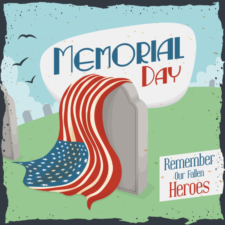 Tombstone in a graveyard with U.S.A. flag for Memorial Day in retro poster design.