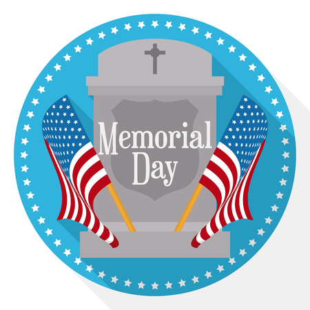 Memorial Day button with two pennants in both sides, commemorative gravestone in flat style and long shadow effect.