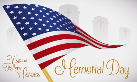 Flag memento in a graveyard to honor fallen heroes in Memorial Day.