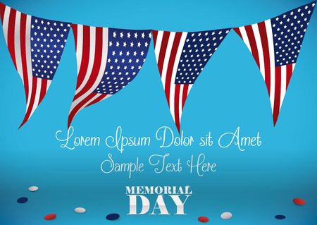 Festive template with American patriotic buntings to celebrate Memorial Day. Illustration