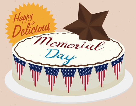 Tasty Memorial Day cake with festive decoration, sweet buntings and chocolate star.
