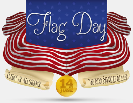 Design with American flag and scrolls with poem and national anthem commemorating Flag Day.