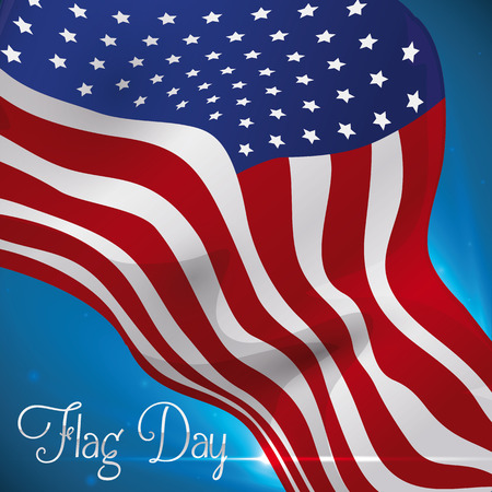 American flag flying in the wind with glow and flares celebrating Flag Day. Illustration