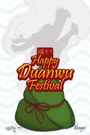 hanzi: Fresh zongzi dumpling, steam like dragon form and wave pattern in the background commemorating Duanwu Festival.