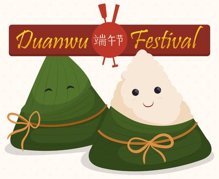 Cute pareja de zongzi bolas de masa hervida sonriendo, uno envuelto en hojas de bambú y otros listos para comer, disfrutar de Dragon Boat (o Duanwu en chino tradicional) Festival.