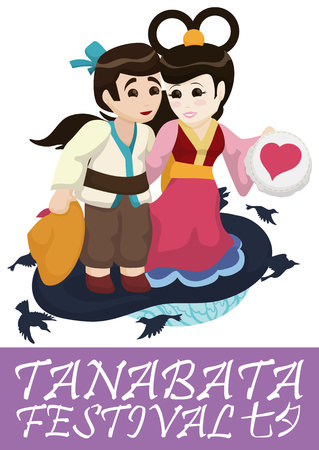 In love couple representing the mythical couple of Tanabata: Orihime and Hikoboshi with magpies around them.
