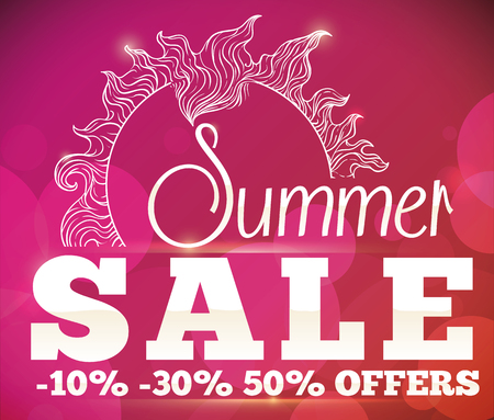 glows: Seasonal poster with juicy offers for summer sale and an outline sun, bokeh, flare and glows.