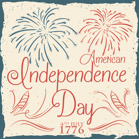 Commemorative retro poster for American Independence Day with fireworks and sparklers in hand drawn style.