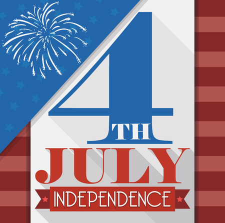 commemoration day: Commemorative american design with stripes, stars and fireworks to celebrate Independence Day in July 4.