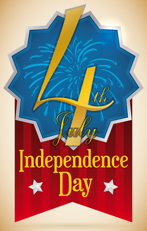 Fireworks in a badge decorated with two stars and with big Fourth of July commemorative design for U.S.A. Independence Day with red stripped ribbon.