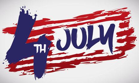 American design made with brushstrokes to commemorate  Independence Day in July 4.