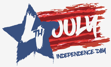 commemoration day: Design in brushstroke graffiti style to celebrate American Independence Day in July 4.