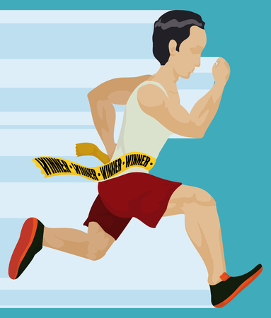 contestant: Athlete finishing the race and getting to the finish line. Illustration