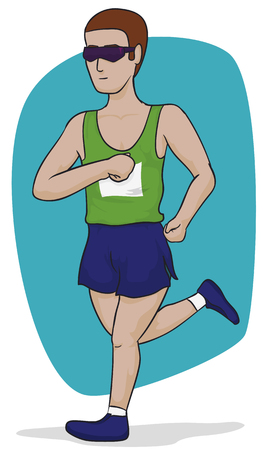 contestant: Marathon male runner wearing sports clothes and sunglasses, isolated in white background. Illustration
