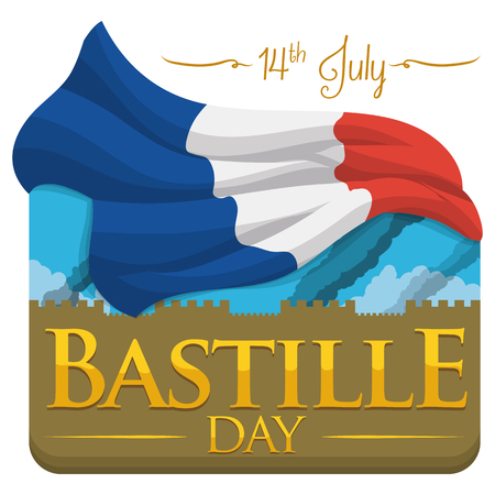 Storming of the Bastille representation to remind the freedom of French people in Independence Day of France. Vector Illustration