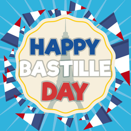 Greeting label commemorating Bastille Day with Eiffel Tower silhouette inside with French tricolour pennants around it.