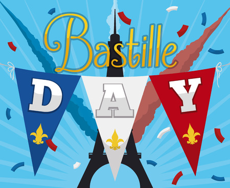 Poster with festive design to celebrate the Independence of France or Bastille Day with Eiffel Tower silhouette in the background. Illustration