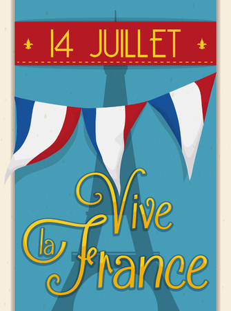 14th: Design with Eiffel Tower silhouette and bunting to celebrate the Independence Day of France with greeting message in French. Illustration