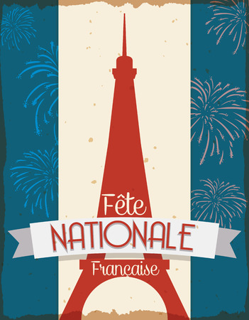 Retro postcard with Eiffel Tower silhouette with a lot of fireworks to celebrate National Day of France (text in French).