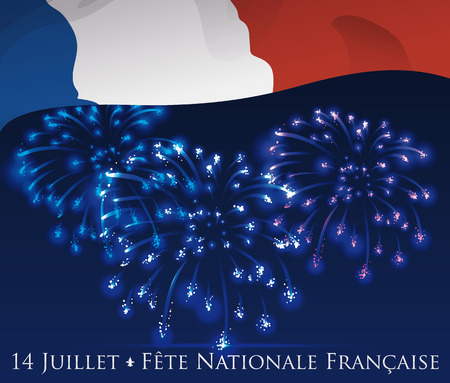 14th: Poster with night sky with fireworks and France flag celebrating the Independence Day of France (texts is in French).