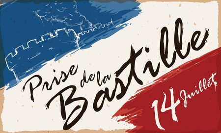 French colors brushstrokes with reminder date, greeting message (in French) and draw of the Storming of the Bastille fortress.