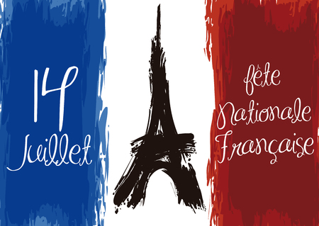 Poster with French flag and Eiffel Tower in brushstrokes styles commemorating National Day of France (image text in French).