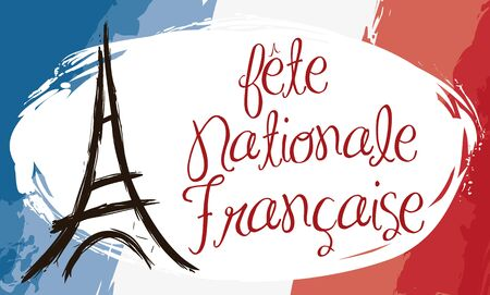 Banner with France flag and Eiffel Tower design in brushstroke style (image text in French).