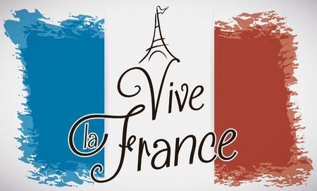 France flag in brushstroke design with greeting message (text in French) and little Eiffel Tower in the top of the greeting text. Illustration