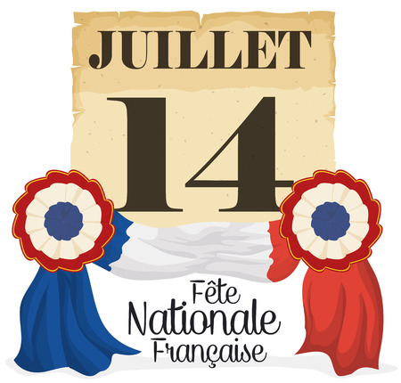 looseleaf: Old loose-leaf calendar paper with reminder date and two cockades at both sides forming the French flag to celebrate National Day (image text in French). Illustration