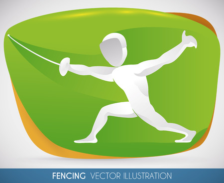 Fencer counterattacking with a forward thrust in fencing sport event.