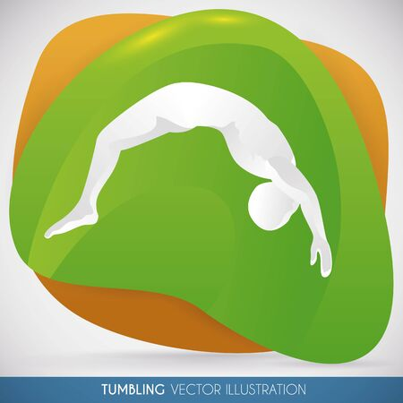 somersault: Athlete doing a backflip in a tumbling routine in gymnastics event.
