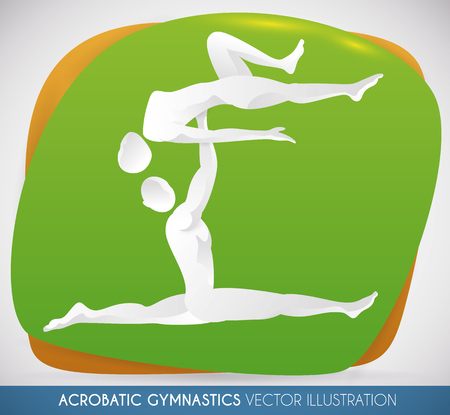 Mixed team performing a routine of acrobatic gymnastics. Illustration