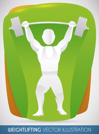 Strong weightlifter lifting a heavy barbell successfully with graceful and fluid motion. Illustration
