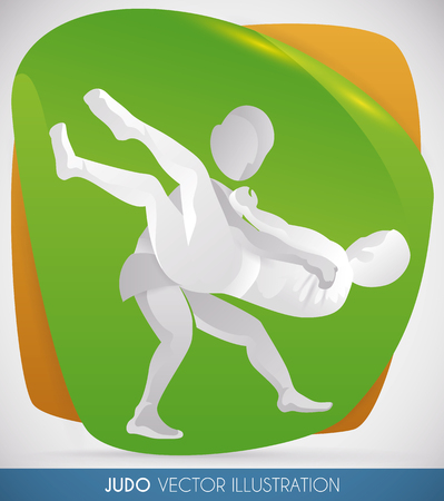 Judo match with athletes doing a judo throw. Illustration