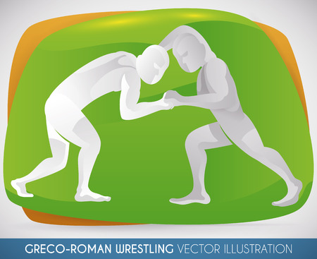 Wrestlers in a performance of Greco-Roman wrestling.