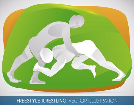Match of Freistil Wrestling mit zwei Athleten kämpfen in einer intensiven Sitzung.