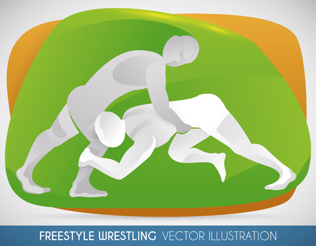 Match of freestyle wrestling with two athletes fighting in an intense session. Illustration