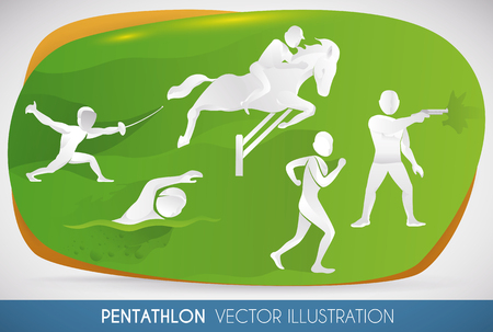 Silhouettes of modern pentathlon sports: fencing, swimming, show jumping, cross-country running and pistol shooting.