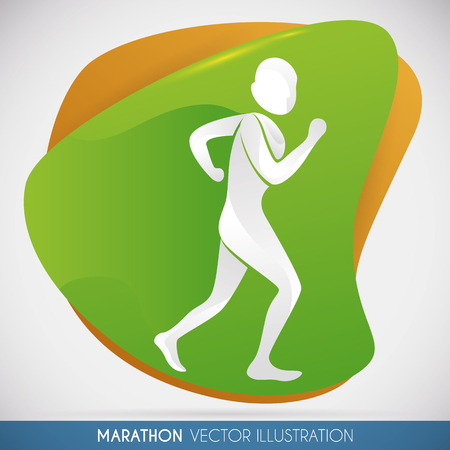 Sportsmans design with marathon runner in a colorful shape isolated. Illustration