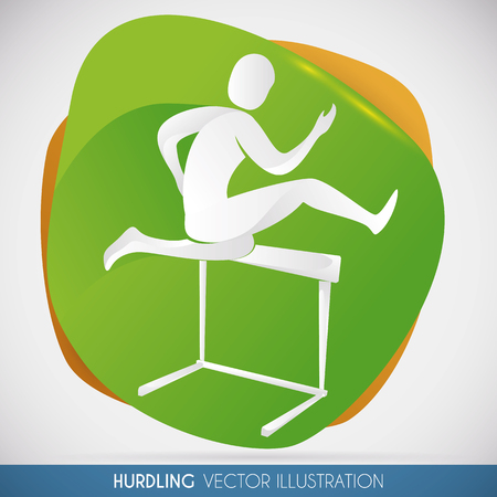 Commemorative design of hurdling athlete jumping a obstacle in a sports event.