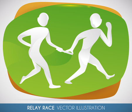 Relay race runners handing over the baton at partner and ready to achieve victory in a sports event. Illustration