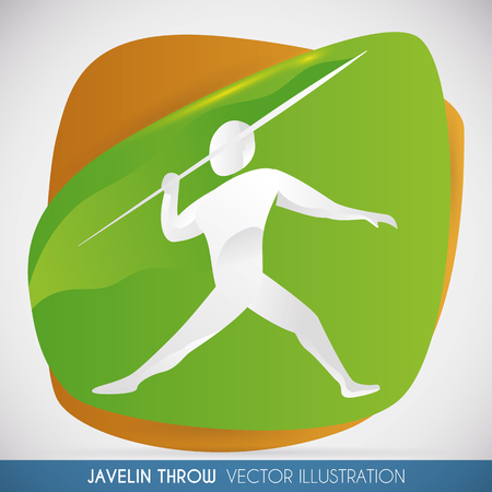 Athlete ready to throw his javelin and win in a sports event over a green and orange shapes.