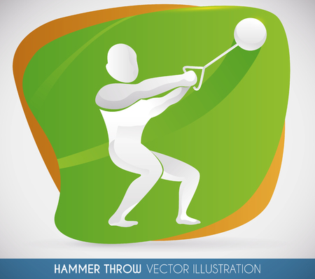 Athlete swinging in a Hammer thrower competition, ready to launch farthest and make a new record in sports event. Illustration