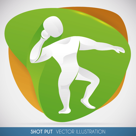 Shot put thrower ready to set a world new record in silhouette and abstract shapes.
