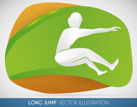 Athlete doing a farthest long jump in a sports event.